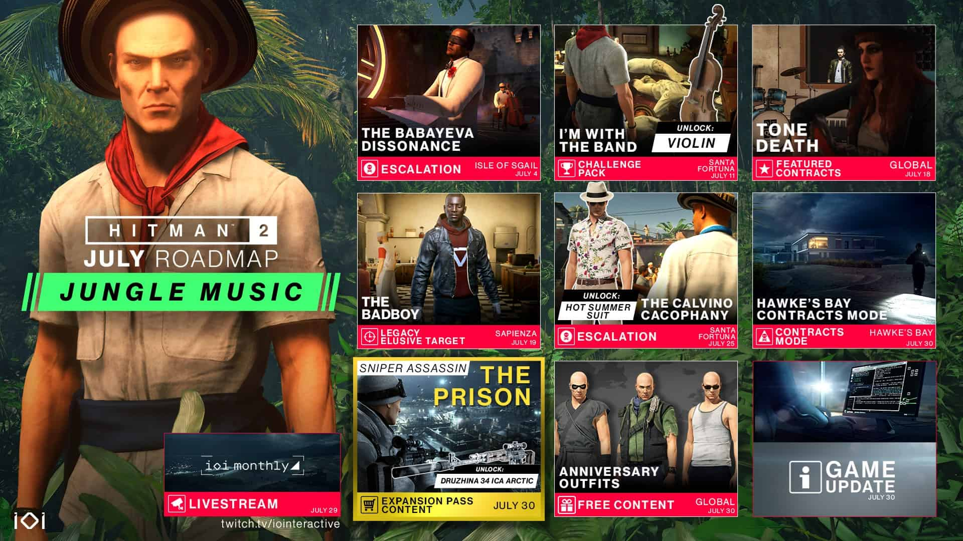 Hitman 2 July 2019 Content Roadmap Reveals Next Sniper Assassin Map: The Prison – Along With A New Challenge Pack, Contracts, Escalations And More
