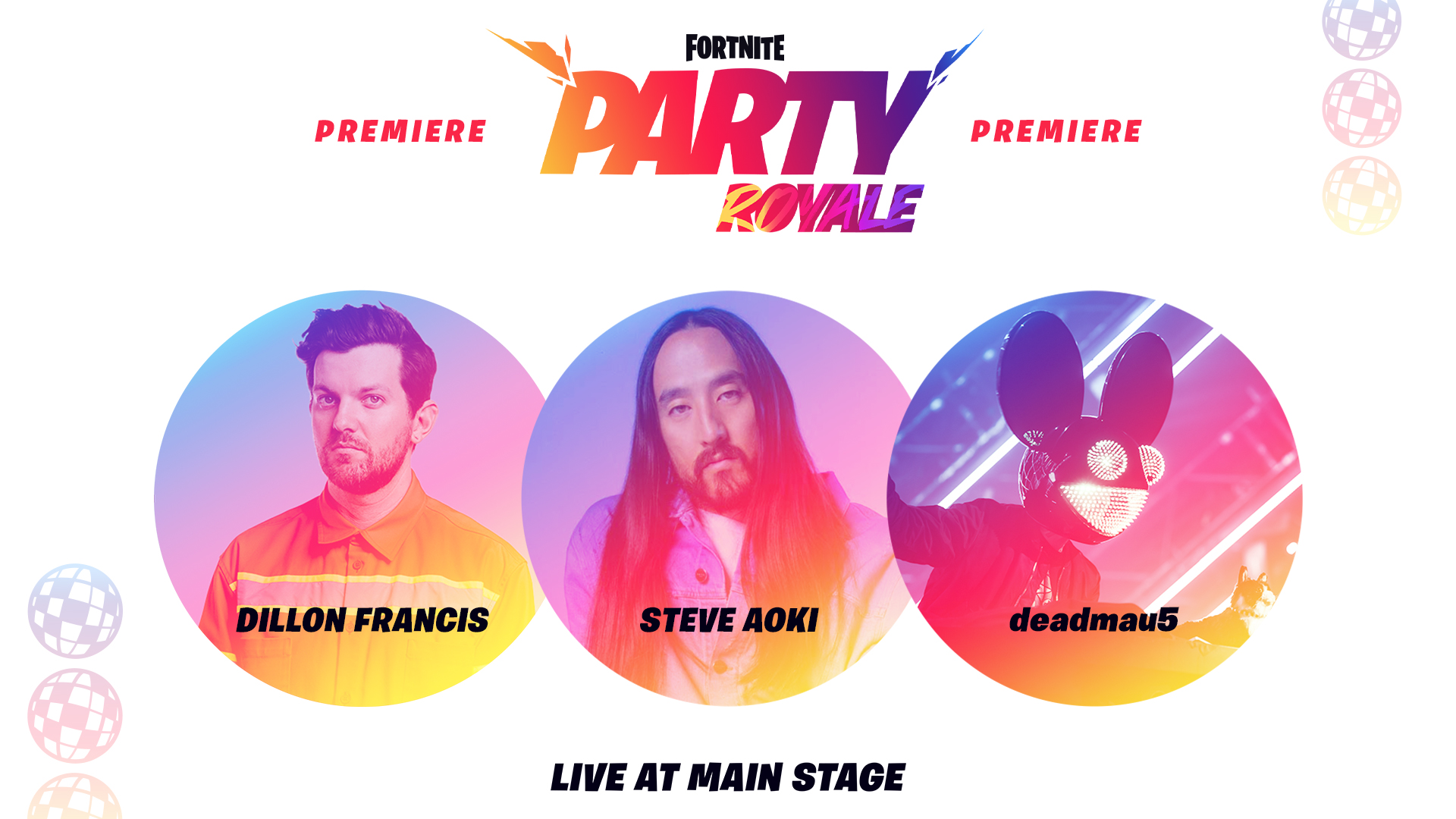 Fortnite's Party Royale Premiere Featuring Dillon Francis, Steve Aoki, and deadmau5